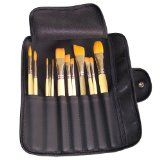 Artist Brush Set - 12 Assorted Golden Synthetic Short Wooden Handled Paint Brushes with Artist Roll - Perfect Starter Kit for Fine Art Students or Arts & Crafts Hobbyists - Suitable for Acrylic, Oil, Watercolour Painting - Handcrafted in USA by Hand