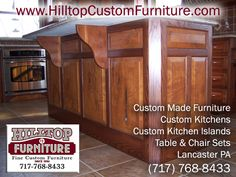 www.hilltopcustomfurniture.com/kitchen.html We design and manufacture custom kitchens, islands, cabinets, and table and chair sets, in Lancaster PA.  Dining room tables and chairs, hutches, office furniture including bookcases and desks and complete bedroom suites that will make you want to stay in bed all day, is our specialty.  Hilltop Furniture specializes in handcrafted, custom furniture.  Check out our website or give us a call at (717) 768-8433, we'd love to speak to you.