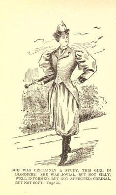 """come to me, walking suit. I keeess you. Walking bloomer suit, from """"A Study in Bloomers"""" 1895 Victorian Costume, Steampunk Costume, Elizabeth Peters, Amelia Peabody, Cycling Suit, Blue Stockings, 1890s Fashion, Mystery Novels, Character Costumes"""