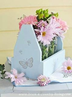 Pale blue with butterflies!