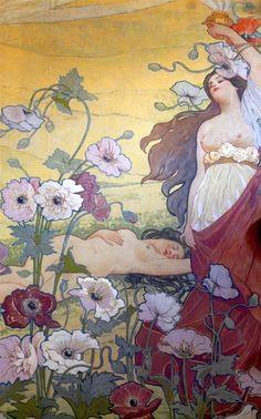 painting by Italian art nouveau artist Ettore De Maria Bergler (1851-1938)