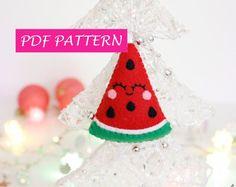 Anguria addobbo PDF fai da te, decorazione di Natale, anguria feltro, semplice tutorial, descrizione passo passo, addobbo per albero Natale