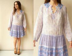 1970's Vintage Indian Cotton Gauze Hippie Caftan by 5678Vintage