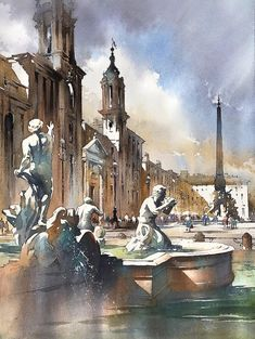 Piazza Navona Rome Italy. Watercolor Paintings Indoors and Outdoors. By Thomas Schaller.