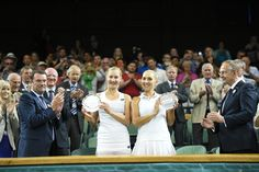 2015 Wimbledon Championships Ekaterina Makarova and Elena Vesnina with their ladies doubles runners-up trophies.