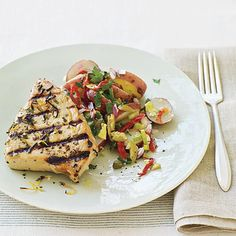 Mediterranean Grilled Tuna Steaks and Sicilian-Style Potato Salad. This simple, hearty meal is packed with many of my favorite Sicilian ingredients. Tuna Steak Recipes, Fish Recipes, Seafood Recipes, Chicken Recipes, Mediterranean Tuna Recipe, Mediterranean Style, Shrimp And Scallop Recipes, Grilled Tuna Steaks, 30 Minute Meals