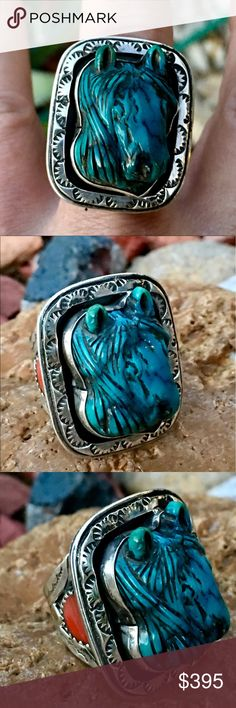"""Silver Francisco Gomez Hand Carved Turquoise Ring Hand Wrought in Sterling Silver, Spiny Oyster and Natural Turquoise by Spanish Master Silversmith and Carver Francisco Gomez. The Top of This one only Masterpiece is 1 5/8"""" x 7/8"""" Wide, The Carved Turquoise in the image of a Horse is Bezel Set, 1"""" T x 3/4"""" W x 3/8"""" Deep. Accented by a Hand Stamped Frame, and on each side of the Shank (1""""- 1/4""""+ in back) a 1cm saw tooth Bezel set Round Spiny Oyster Disc, Red on 1 side, ****Purple on the other…"""