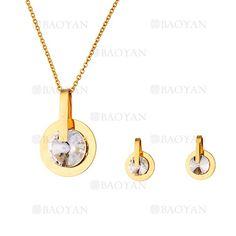 juego collar y aretes de cristal brillante en acero dorado inoxidable -SSNEG503505