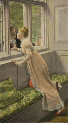 Artwork by Edmund Blair Leighton, Goodbye, Made of Photogravure hand-colored on India paper Romantic Paintings, Old Paintings, Beautiful Paintings, Romance Art, Pre Raphaelite, Victorian Art, Art Moderne, Classical Art, Couple Art