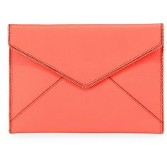 Rebecca Minkoff Leo Saffiano Zip-Trim Clutch Bag ($100) ❤ liked on Polyvore featuring bags, handbags, clutches, extra, bright coral, zipper flap purse, zipper purse, red handbags, flap handbags and rebecca minkoff handbags