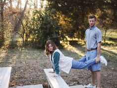 This Couple Purposely Took Awkward Engagement Photos and They're Hilarious | Photo by: Evergreen Film Co. | TheKnot.com