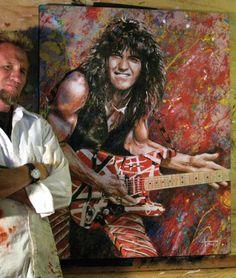 Eddie Van Halen, Celebrity Drawings, Street Art, Vibrant Colors, Sketches, Abstract, Celebrities, Artwork, Prints