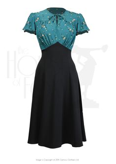 1940s Style Grable Tea Swing Dance Dress in Spring Garden