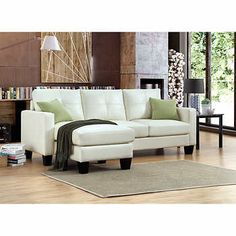 Carrera Ivory Bonded Leather Sofa with Reversible Chaise