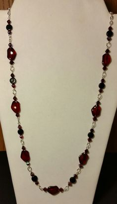 Handmade Beaded Necklace in Ruby Red and Garnet Aurora Borealis on an Elegant Eyepin Chain, Bold Feminine Statement Jewelry, Fashion Jewelry