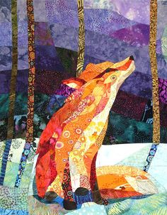 I Love Handmade: Orange Fox Purple Night, Quilt Fabric Art by CCollier Studio