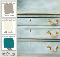 Colorways with Leslie Stocker » Secretary Preview Complex green  finish using Annie Sloan Chalk Paint®. Florence, Old White, French Linen