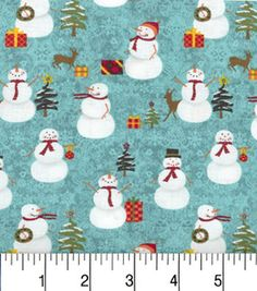 Maker'S Holiday Cotton Fabric-Snowmen And Trees Turq