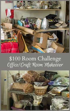 $100 challenge to makeover the room of your choice. See how this home office/craft room goes from chaotic to organized in one month on a tight budget. #organize #makeover #homeoffice #craftroom