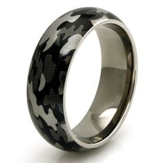 Shopping for your favorite soldier or outdoorsman? Click now to learn more about our men's titanium army gray camo wedding band. Comfort-fit and multiple sizes! Camo Wedding Bands, Hunting Wedding Rings, Army Wedding, Engagement Ring Settings, Engagement Rings, Men's Jewelry Store, Camo Rings, Tungsten Wedding Rings, Men's Jewelry Rings