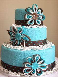 turquoise brown cake