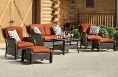 Outdoors is the new indoors, courtesy of the Strathmere Collection. Six pieces: 1 cushioned loveseat, 2 cushioned arm chairs, 2 cushioned ottomans, and 1 glass-top coffee table, all handwoven wicker over steel frames. Six color choices including red (shown). Online only. #shopko