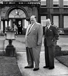 Laurel and Hardy outside a hotel in Dun Laoghaire (Dublin)