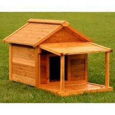 Small wooden cabin dog house