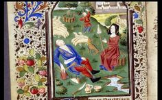 Terce (Hours of the Virgin). Miniature. Annunciation to the Shepherds. Angel…