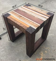 DIY Scrap Wood Side Table Dimensions - Rogue Engineer #WoodworkingProjects