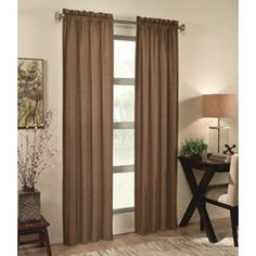 @Overstock.com - Bring a touch of modern elegance to your home decor with this Ellie curtain panel. A tone on tone design delivers a look of sophistication on this rod pocket window panel.http://www.overstock.com/Home-Garden/Ellie-84-inch-Curtain-Panel/5963527/product.html?CID=214117 $18.99