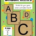 """Scrabble tiles in 4 sizes ready to print! Also great for """"Boggle"""" and """"Getting to Know You""""  bulletin boards and games!"""