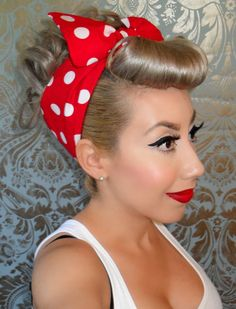Rosie the Riveter Red with White Polka Dot Bandana/Headband - PinUp - Rockabilly- Rockabilly Make Up, Rockabilly Mode, Rockabilly Fashion, Rockabilly Ideas, Rockabilly Wedding, Rosie The Riveter Hair, Rosie The Riveter Costume, Square Face Hairstyles, Retro Hairstyles