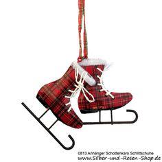 Blechanhänger Tartan Schlittschuhe #Plaid #Tartan #Christbaumschmuck #Weihnachtsschmuck