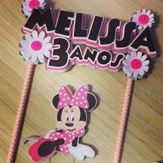 Cake Banner, Banner Letters, K Crafts, Paper Crafts, Mickey Mouse Clubhouse, Minnie Mouse, Cricut Cake, Bolo Minnie, Scrapbook