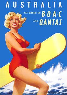 Fly to Australia surf girl  http://www.vintagevenus.com.au/vintage/reprints/info/TV515.htm