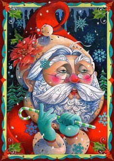 Santa oil painting