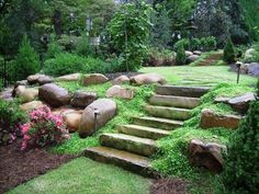 home landscape slope backyard with stones : Sloped Backyard Home Landscape. home landscaping ideas,home landscaping pictures,sloped backyard landscape,sloped backyard landscape ideas,sloped backyard landscaping designs Landscaping With Rocks, Front Yard Landscaping, Landscaping Ideas, Backyard Ideas, Hillside Landscaping, Backyard Designs, Patio Ideas, Outdoor Landscaping, Residential Landscaping