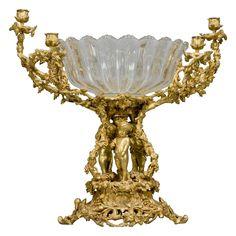 Vintage Centerpieces, Centrepieces, Dining Furniture, Cool Furniture, Pillar Design, Bronze, Glass Molds, Opaline, Ceiling Lights