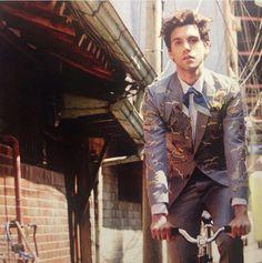 mika on a bike