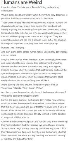Human alien space Australia space orcs weird