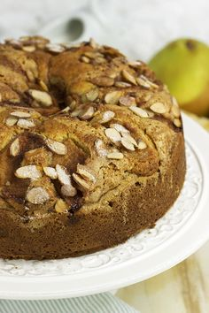 Sweet and moist, this easy Pear Almond Coffee Cake is the perfect recipe for any occasion.   TheSuburbanSoapbox.com