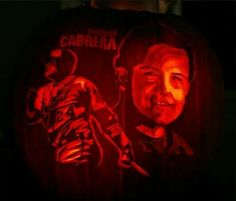 Awesome Miguel Cabrera pumpkin carving.