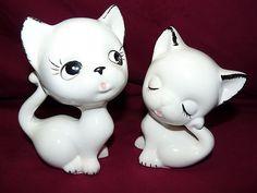 Two Porcelain Ceramic Cat Figurines (circa 1950's) - SOLD
