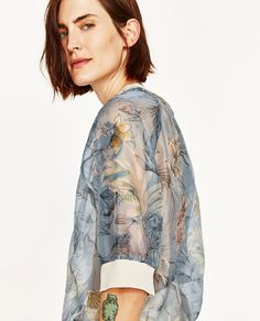 Image 6 of PRINTED ORGANZA TOP WITH PIPING from Zara