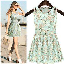 DRS8726Shoulder Slit Flower Pattern Dress