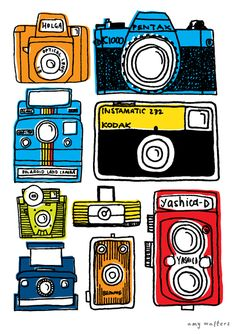 Collections - Amy Walters Illustrator // sketches of cameras