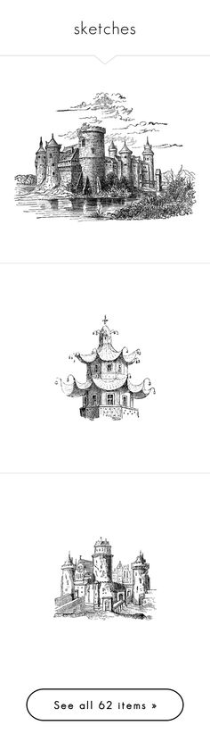 sketches by assymi on Polyvore featuring white, black, colour, dessins, castles, drawings, backgrounds, fillers, sketches and asian