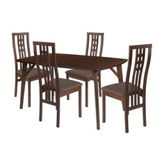 Flash Furniture Clearview 5 Piece Walnut Wood Dining Table Set with Glass Top and High Triple Window Pane Back Wood Dining Chairs - Padded Seats Clear/Walnut/Beechwood Glass Top Dining Table, Kitchen Dining Sets, 5 Piece Dining Set, Dining Room Sets, Dining Chair Pads, Dining Chairs, Table And Chair Sets, Dining Room Furniture, Wooden Furniture