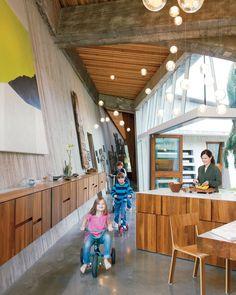 Modern wooden kitchen with long hallway